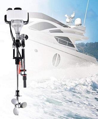 YUNRUX Motor fueraborda de 2 Tiempos, Motor de Arranque de Gasolina, 3,5 CV, Motor de Gasolina CDI, Motor de Barco para Barcos hinchables, Barcos de Pesca 52CC